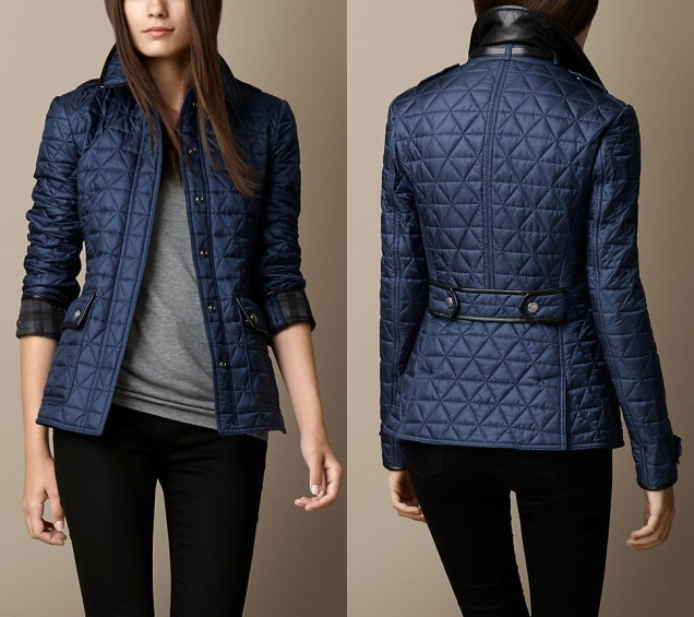 2,095.00 LEATHER DETAIL QUILTED JACKET